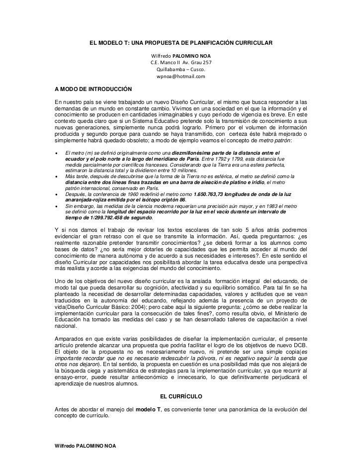 EL MODELO T: UNA PROPUESTA DE PLANIFICACIÓN CURRICULAR                                         WilfredoPALOMINONOA     ...