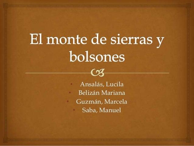• Ansalás, Lucila • Belizán Mariana • Guzmán, Marcela • Saba, Manuel