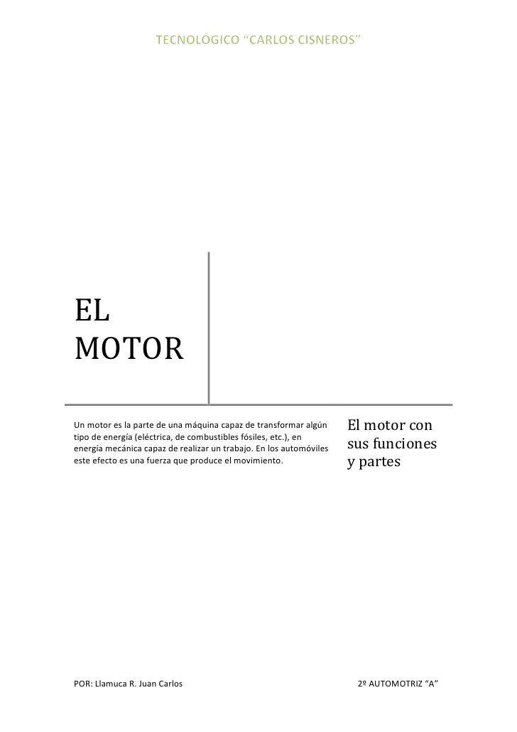 El motor sus funciones y partes