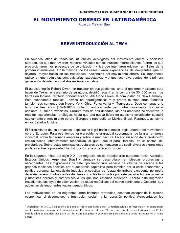 El Movimiento Obrero En Latinoamerica   Bao