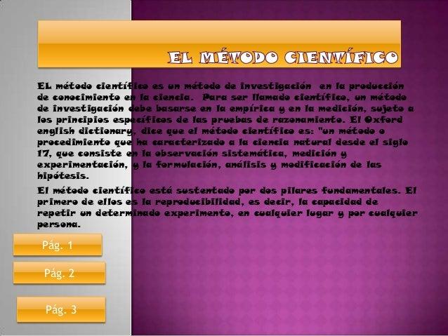 EL método científico es un método de investigación en la producciónde conocimiento en la ciencia. Para ser llamado científ...