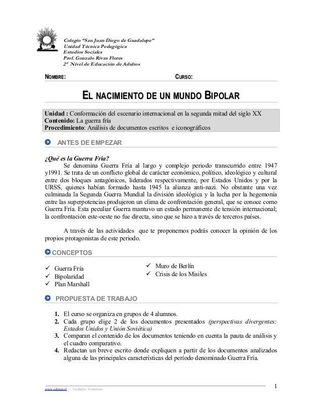 """Colegio """"San Juan Diego de Guadalupe"""" Unidad Técnica Pedagógica Estudios Sociales Prof. Gonzalo Rivas Flores 2° Nivel de E..."""