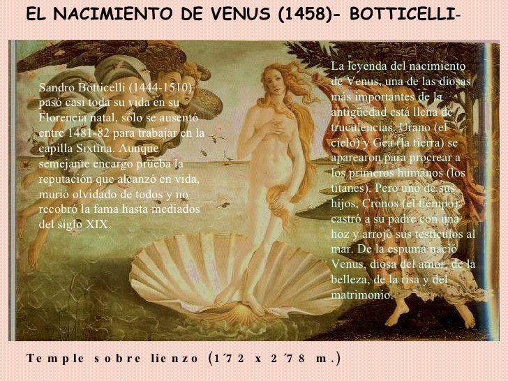 EL NACIMIENTO DE VENUS (1458)- BOTTICELLI - Temple sobre lienzo (1´72 x 2´78 m.)   Sandro Botticelli (1444-1510) pasó casi...