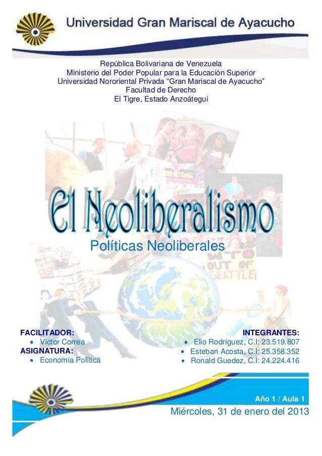 República Bolivariana de Venezuela           Ministerio del Poder Popular para la Educación Superior         Universidad N...