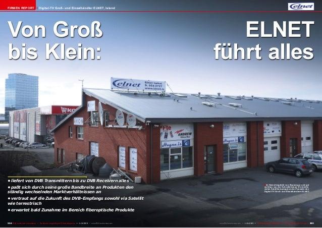 Firmen Report  Digital-TV Groß- und Einzelhändler ELNET, Island  Von Groß bis Klein:  •liefert von DVB Transmittern bis z...