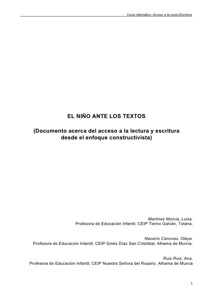 Curso telemático: Acceso a la Lecto-Escritura                   EL NIÑO ANTE LOS TEXTOS  (Documento acerca del acceso a la...