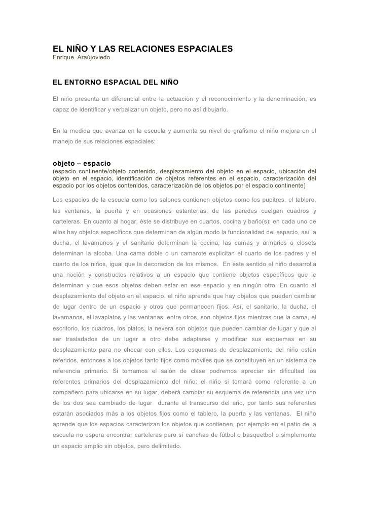 EL NIÑO Y LAS RELACIONES ESPACIALES Enrique Araújoviedo    EL ENTORNO ESPACIAL DEL NIÑO  El niño presenta un diferencial e...