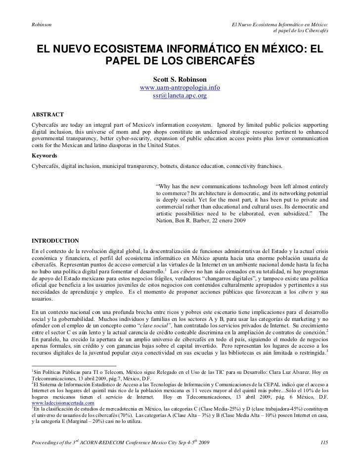 El nuevo ecosistema informático en méxico el papel de los cibercafés   scott s. robinson (2009)