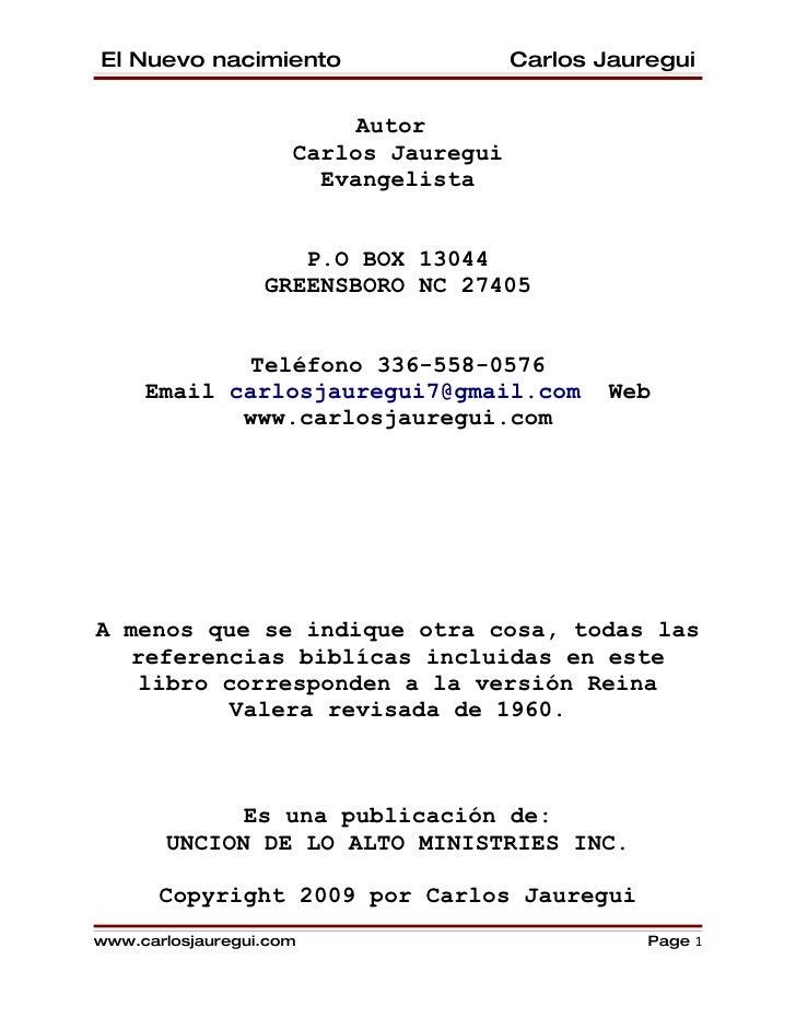 El Nuevo nacimiento                    Carlos Jauregui                            Autor                      Carlos Jaureg...