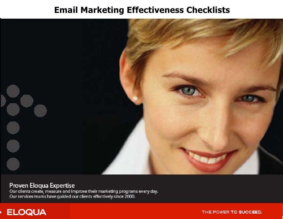 Eloqua Checklists For Email Mktg Effectiveness