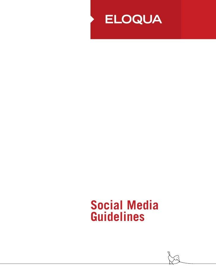 Eloqua social media guidelines