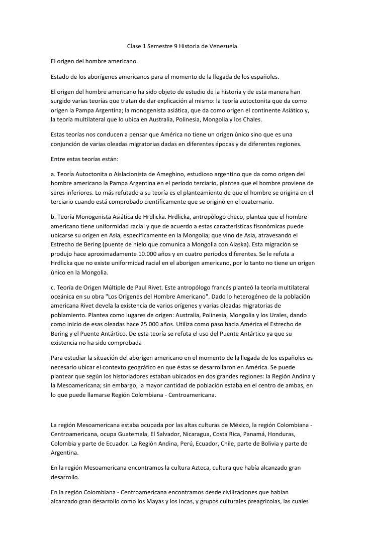 Clase 1 Semestre 9 Historia de Venezuela.El origen del hombre americano.Estado de los aborígenes americanos para el moment...