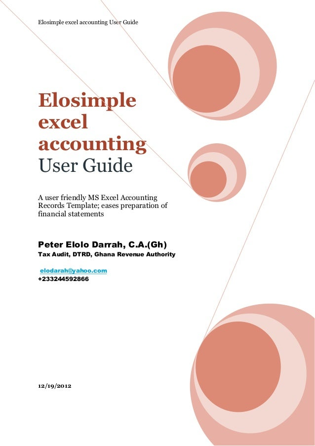 Elosimple excel accounting User GuideElosimpleexcelaccountingUser GuideA user friendly MS Excel AccountingRecords Template...