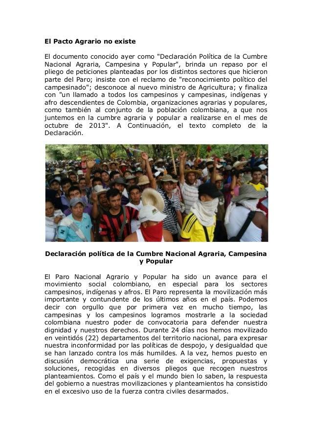 """El Pacto Agrario no existe El documento conocido ayer como """"Declaración Política de la Cumbre Nacional Agraria, Campesina ..."""