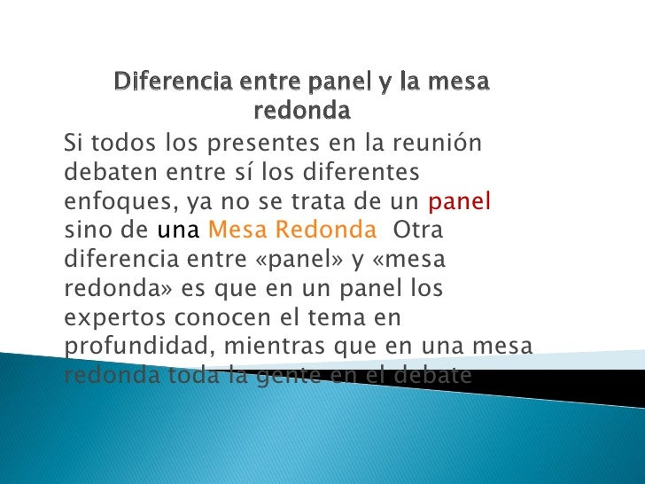 El panel - Que es mesa redonda ...
