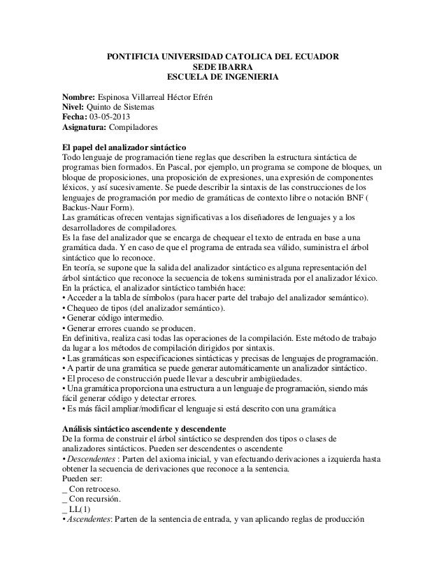 PONTIFICIA UNIVERSIDAD CATOLICA DEL ECUADORSEDE IBARRAESCUELA DE INGENIERIANombre: Espinosa Villarreal Héctor EfrénNivel: ...