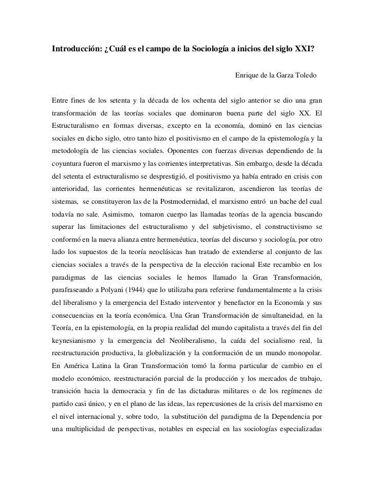 Introducción: ¿Cuál es el campo de la Sociología a inicios del siglo XXI?                                                 ...