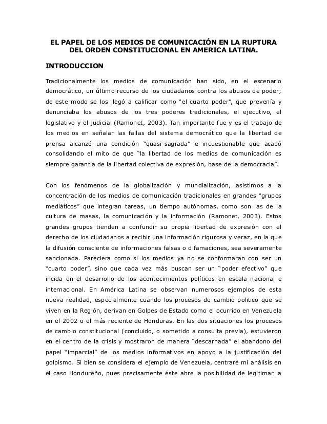 El papel de los medios de comunicación en la ruptura del orden constitucional en america latina