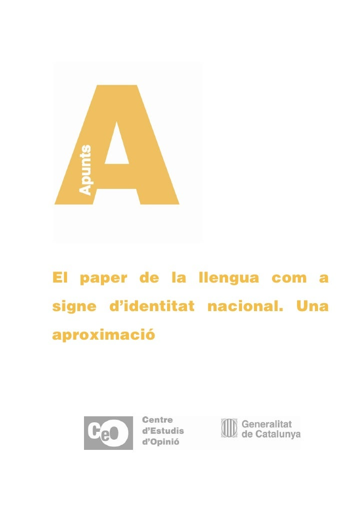 El paper de la llengua com asigne d'identitat nacional. Unaaproximació