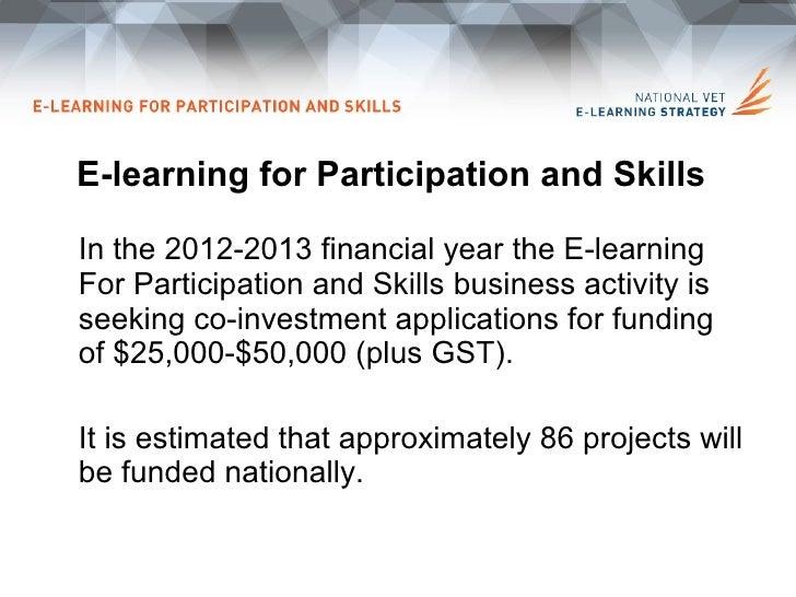E-learning for Participation and skills funding