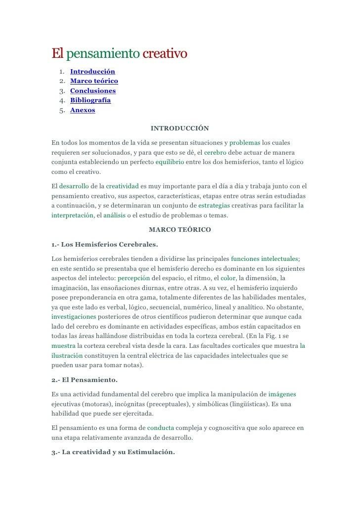 Principio del formulario<br />El pensamiento creativo<br />Introducción <br />Marco teórico <br />Conclusiones <br />Bibli...