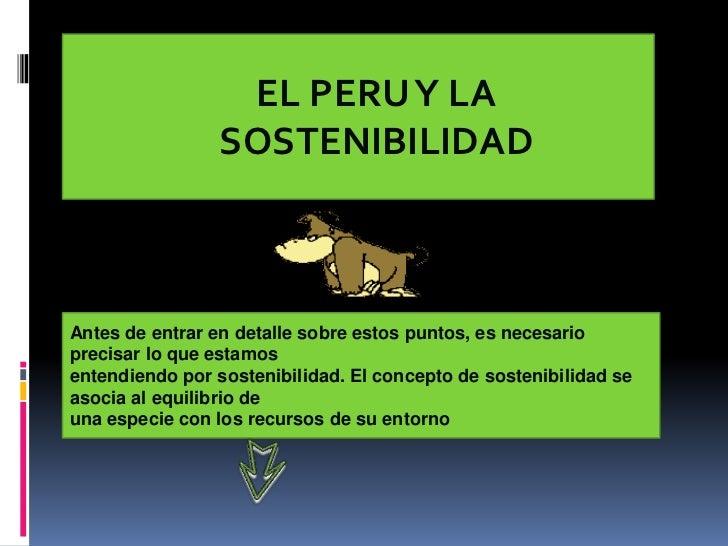 EL PERU Y LA                 SOSTENIBILIDADAntes de entrar en detalle sobre estos puntos, es necesarioprecisar lo que esta...