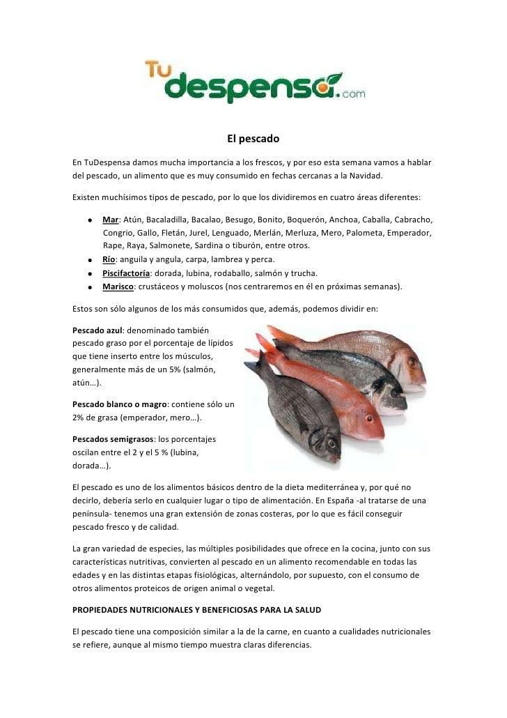 El pescado: tipos y propiedades nutricionales