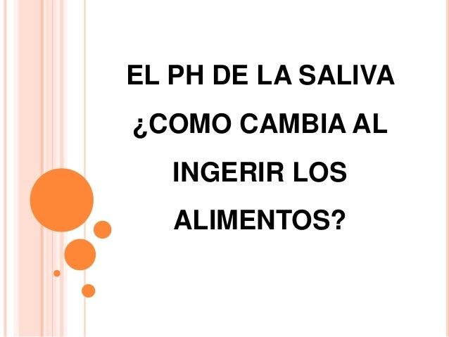 EL PH DE LA SALIVA ¿COMO CAMBIA AL INGERIR LOS ALIMENTOS?