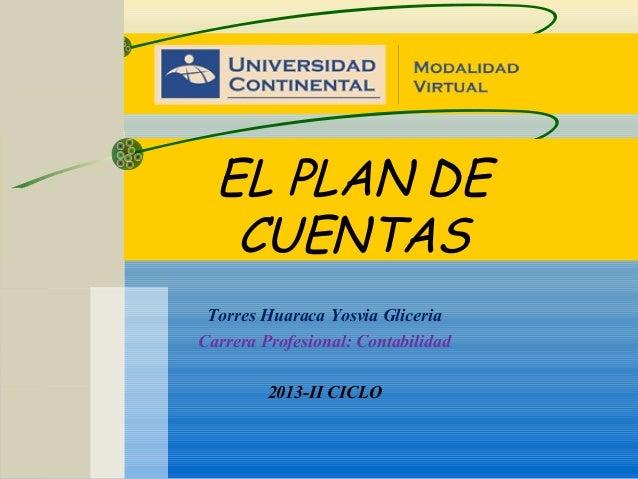 EL PLAN DE CUENTAS Torres Huaraca Yosvia Gliceria Carrera Profesional: Contabilidad 2013-II CICLO