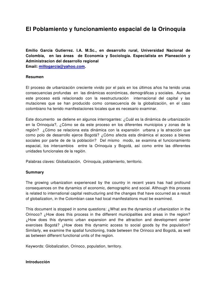 El Poblamiento y funcionamiento espacial de la OrinoquiaEmilio Garcia Gutierrez. I.A. M.Sc., en desarrollo rural, Universi...