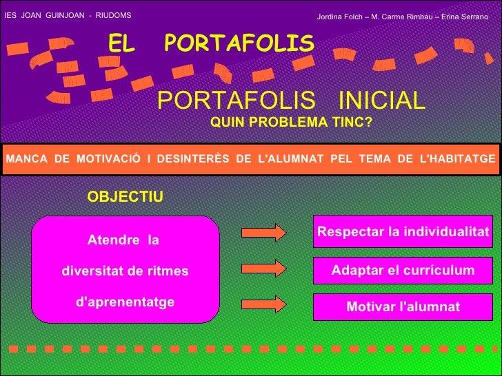 IES  JOAN  GUINJOAN  -  RIUDOMS EL  PORTAFOLIS PORTAFOLIS  INICIAL QUIN PROBLEMA TINC? Atendre  la  diversitat de ritmes d...