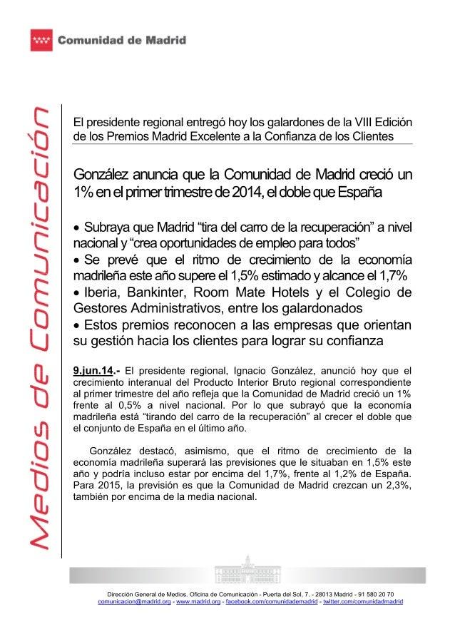 Ignacio González entregó los galardones de la viii edición de los premios madrid excelente a la confianza de los clientes