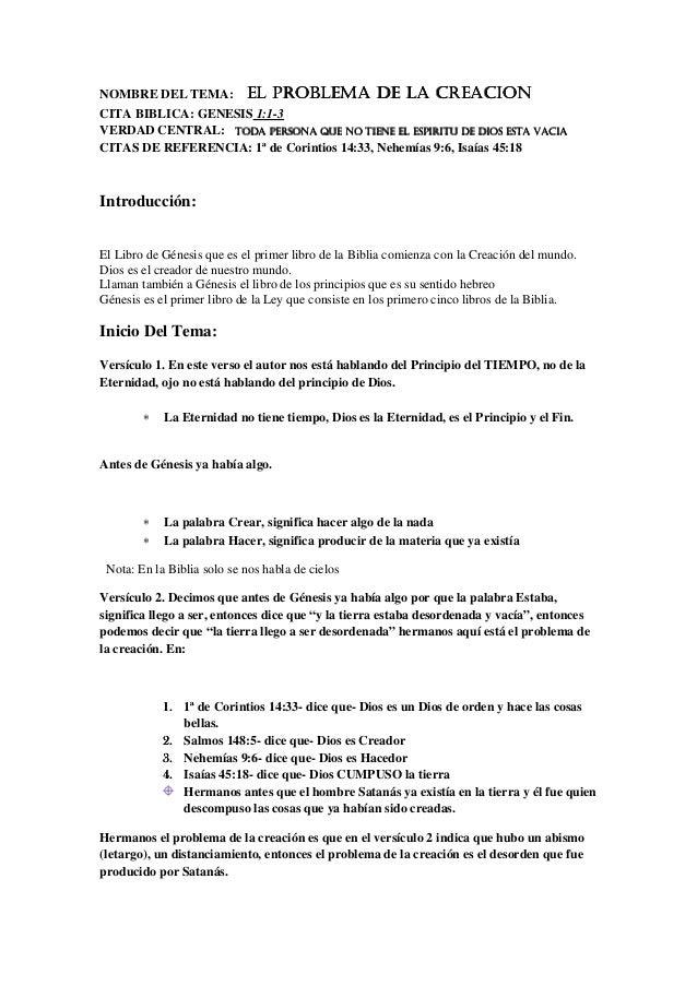 NOMBRE DEL TEMA: EL PROBLEMA DE LA CREACIONEL PROBLEMA DE LA CREACIONEL PROBLEMA DE LA CREACIONEL PROBLEMA DE LA CREACION ...