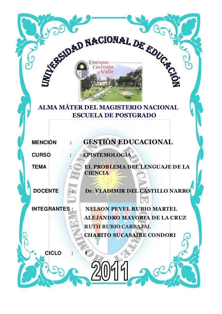 143446574930<br />ALMA MÁTER DEL MAGISTERIO NACIONAL<br />586740261620ESCUELA DE POSTGRADO<br />MENCIÓN        :        GE...