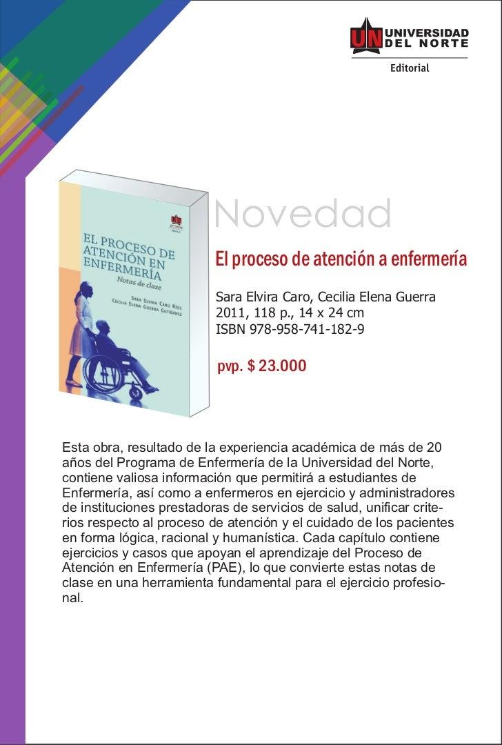 Novedad                          El proceso de atención a enfermería                          Sara Elvira Caro, Cecilia El...