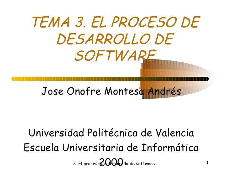 TEMA 3. EL PROCESO DE DESARROLLO DE SOFTWARE Jose Onofre Montesa Andrés Universidad Politécnica de Valencia Escuela Univer...