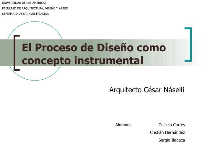 El Proceso de Diseño como   concepto instrumental Arquitecto César Náselli Alumnos. Guisela Cortés Cristián Hernández Serg...