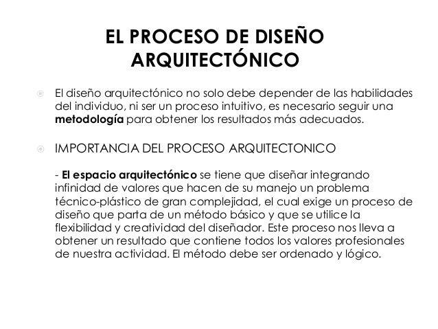 EL PROCESO DE DISEÑO ARQUITECTÓNICO   El diseño arquitectónico no solo debe depender de las habilidades del individuo, ni...