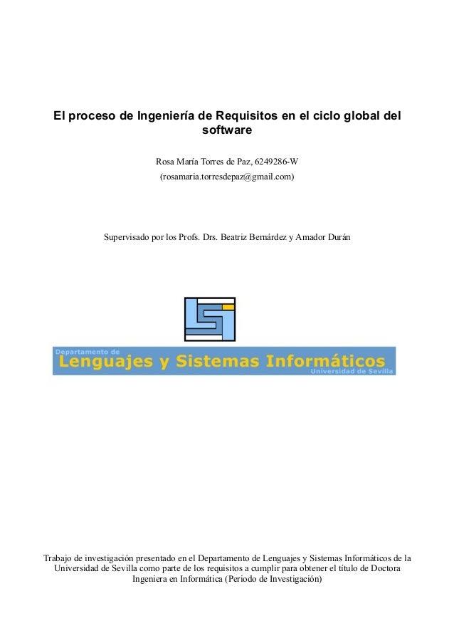 El proceso de ingeniería de requisitos en el ciclo global del soft