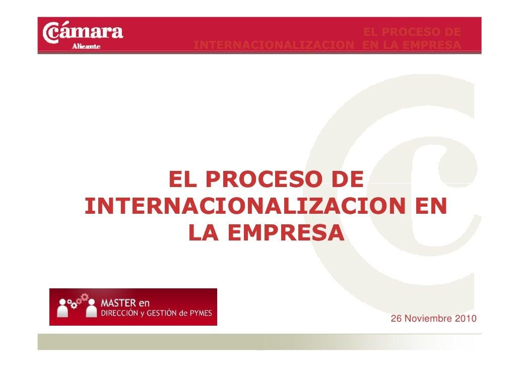 EL PROCESO DE      INTERNACIONALIZACION EN LA EMPRESA     EL PROCESO DEINTERNACIONALIZACION EN      LA EMPRESA            ...