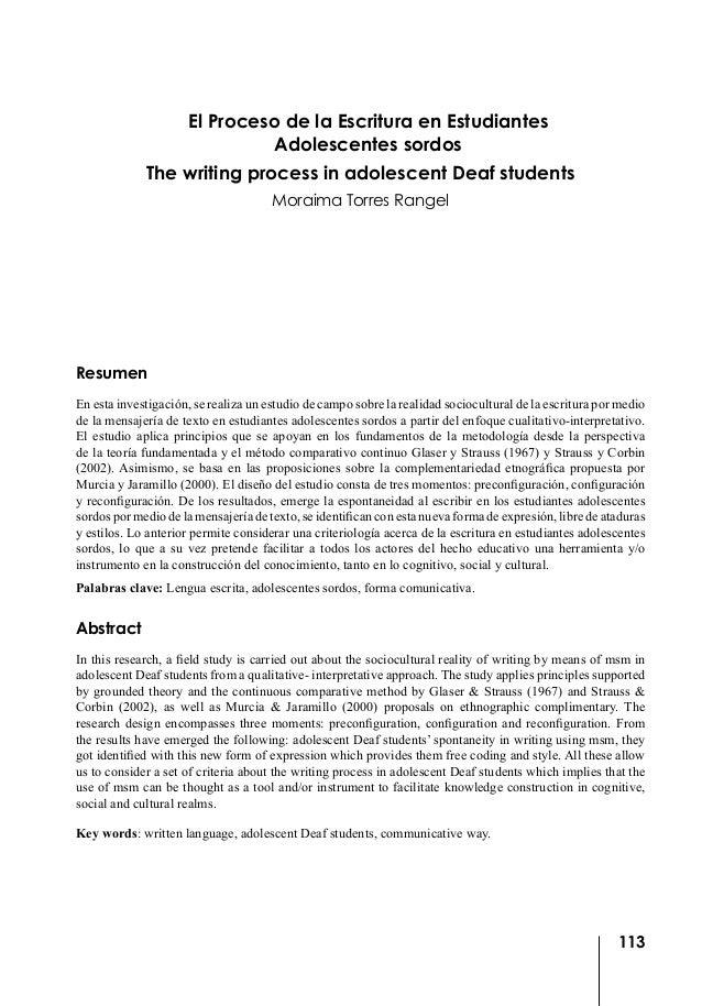El proceso de la escritura en estudiantes