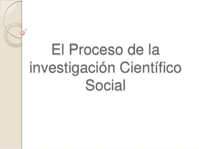 El Proceso de la investigación Científico Social