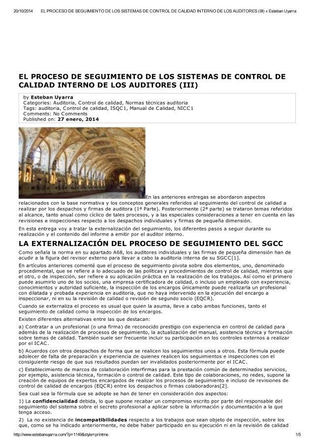 El proceso de seguimiento de control de calidad auditores (III)
