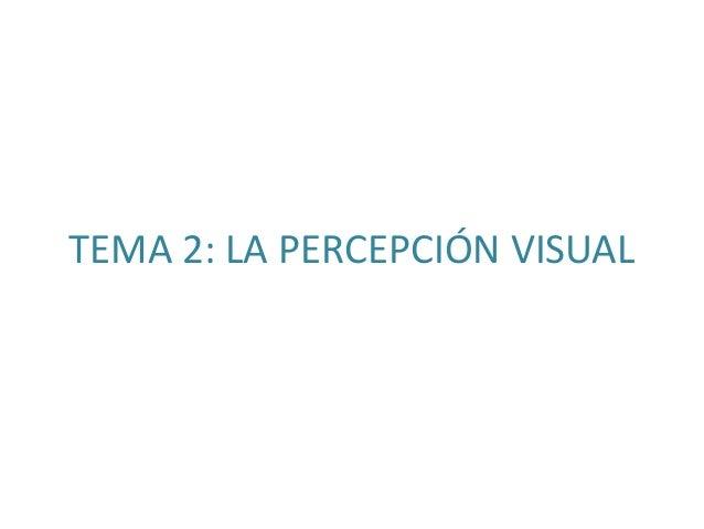 TEMA 2: LA PERCEPCIÓN VISUAL