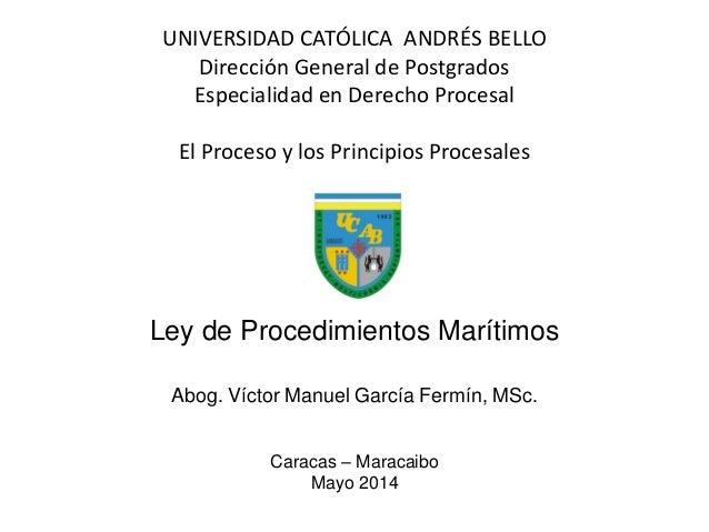 UNIVERSIDAD CATÓLICA ANDRÉS BELLO Dirección General de Postgrados Especialidad en Derecho Procesal El Proceso y los Princi...