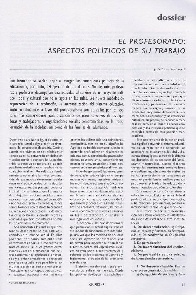 El profesorado: Aspectos políticos de su trabajo. Jurjo Torres Santomé (1997)