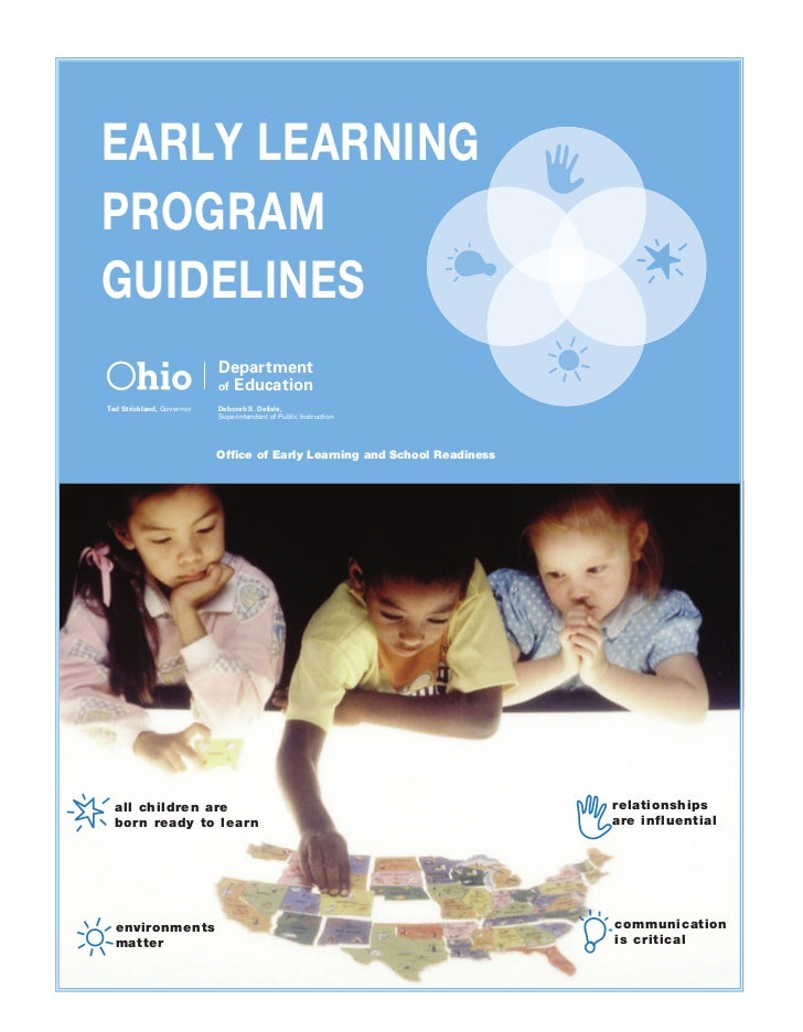 EARLY LEARNINGPROGRAMGUIDELINES                           Department                           of EducationTed Strickland,...