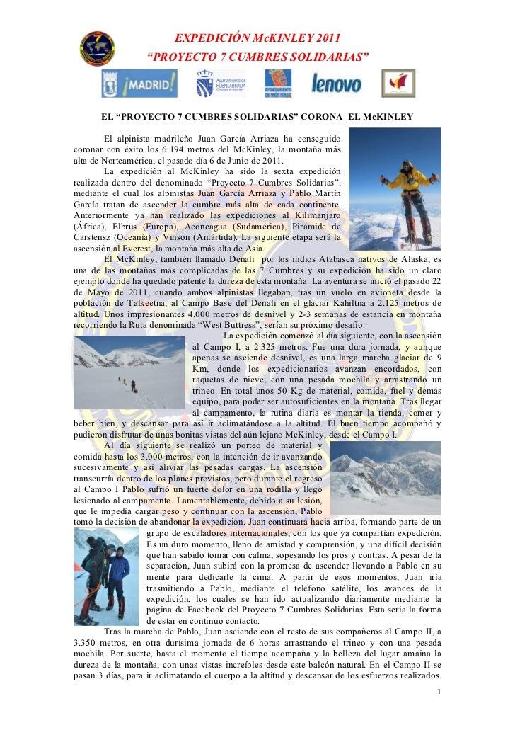 "EXPEDICIÓN McKINLEY 2011                   ""PROYECTO 7 CUMBRES SOLIDARIAS""       EL ""PROYECTO 7 CUMBRES SOLIDARIAS"" CORONA..."