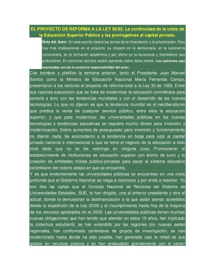EL PROYECTO DE REFORMA A LA LEY 30/92: La continuidad de la crisis de    la Educación Superior Pública y las prerrogativas...