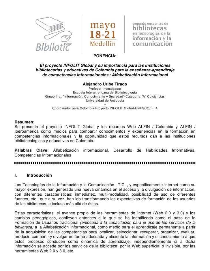 PONENCIA:               El proyecto INFOLIT Global y su importancia para las instituciones            bibliotecarias y edu...